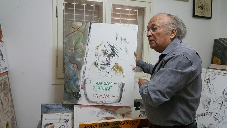 יאיר גרבוז בסטודיו בביתו אשר ברמת גן, 30.3.2017. צילום: העוקץ