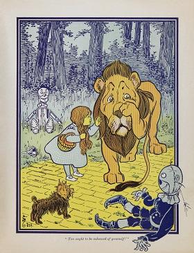 איורו של ויליאם וולאס דנסלו לקוסם מארץ עוץ מאת ליימן פרנק באום (1900)