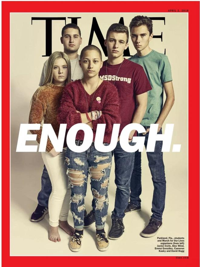 """נוער נגד חוקי הנשק בארה""""ב על שער הטיימס, 2 באפריל 2018"""