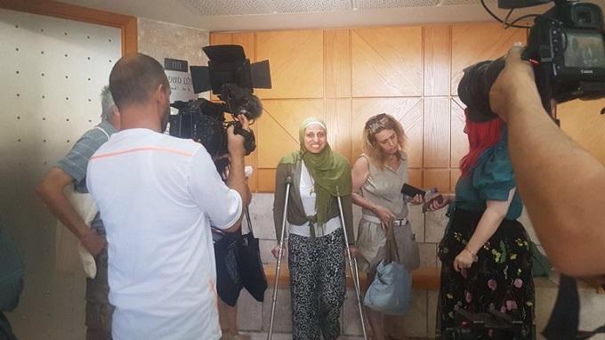דארין טאטור לאחר מתן פסק הדין במשפטה, בבית המשפט השלום בנצרת, 3.5.2018. צילום: עלמה כץ
