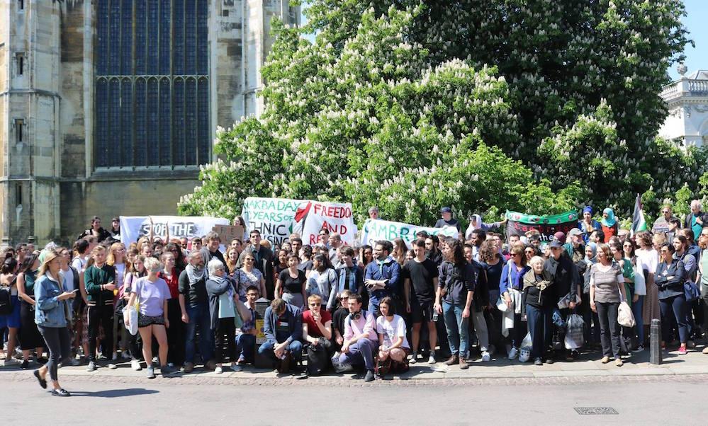 מחאה באוניברסיטת קיימברידג׳ בעקבות ההרג בעזה, מאי 2018