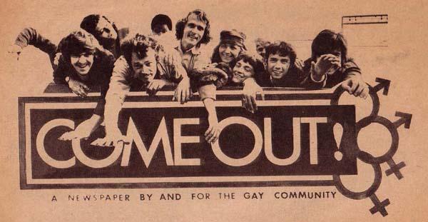 הגליון הראשון של קאם אווט! משנת 1969 שיצא בעקבות המהומות בסטונוול