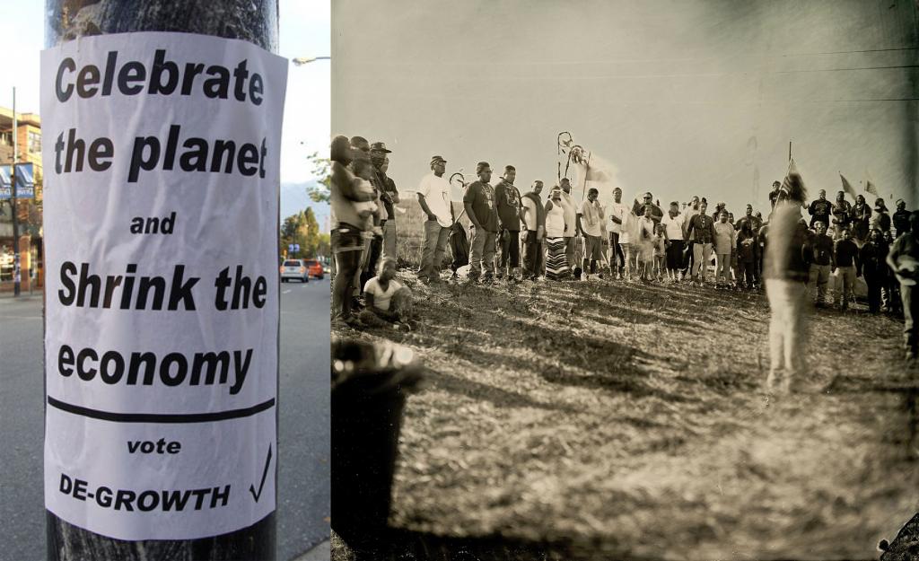 מימין: הפגנה נגד בניית קו הנפט בדקוטה, 2016. צילום: Shane Balkowitsch, CC BY-SA 4.0; כרזה של degrowth
