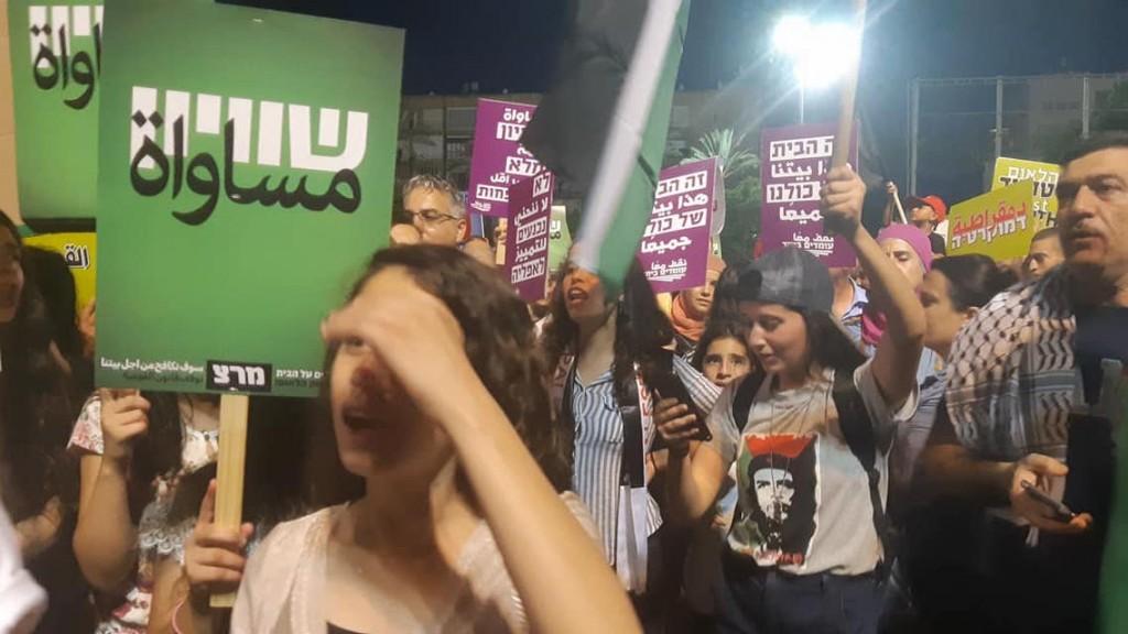 הפגנה נגד חוק הלאום, 11.08.18. צילום: רחל בית אריה