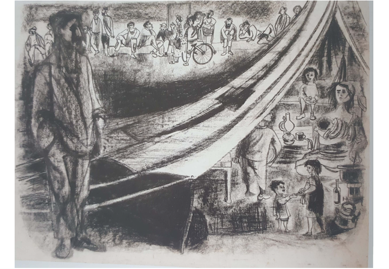 """נפתלי בזם, """"מעברה"""", 1953 (פחם וטמפרה על נייר)"""