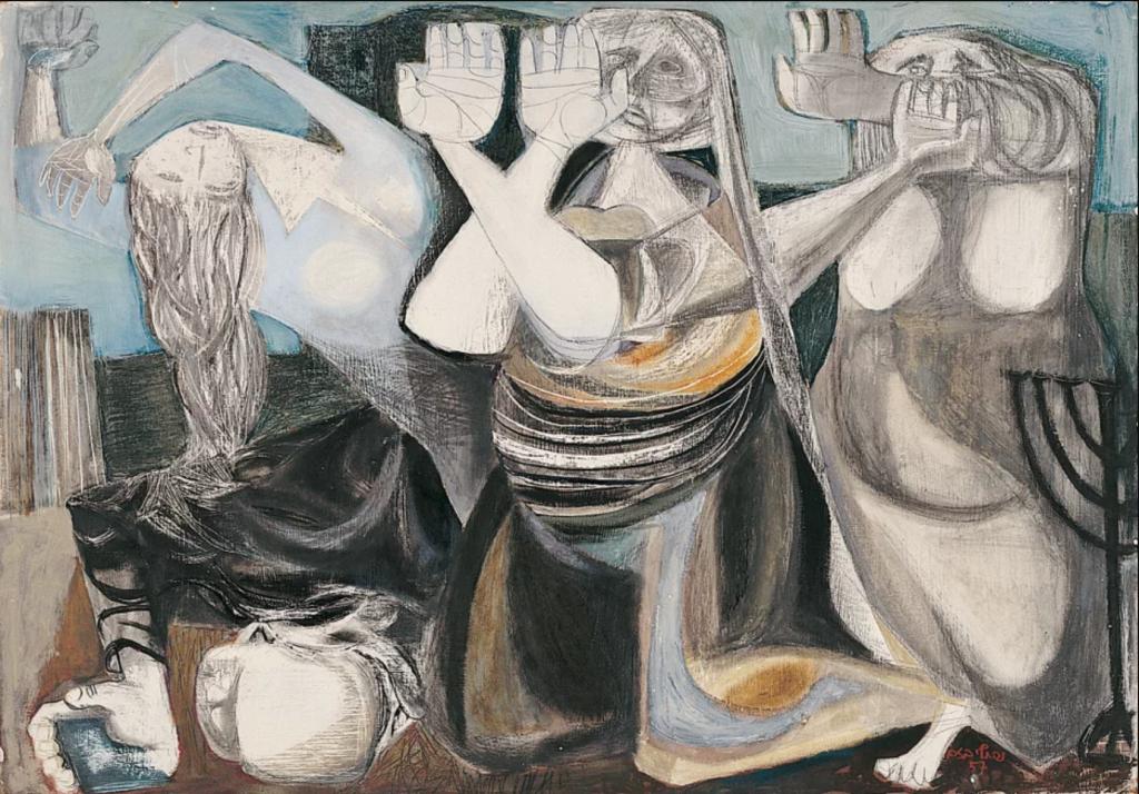 """נפתלי בזם, """"בחצר הבית השלישי"""", 1957 (גואש על קרטון)"""
