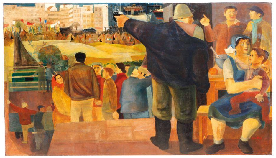 """נפתלי בזם, """"לעזרת הימאים"""", 1952 (צבעי-שמן על עץ לבוד)"""