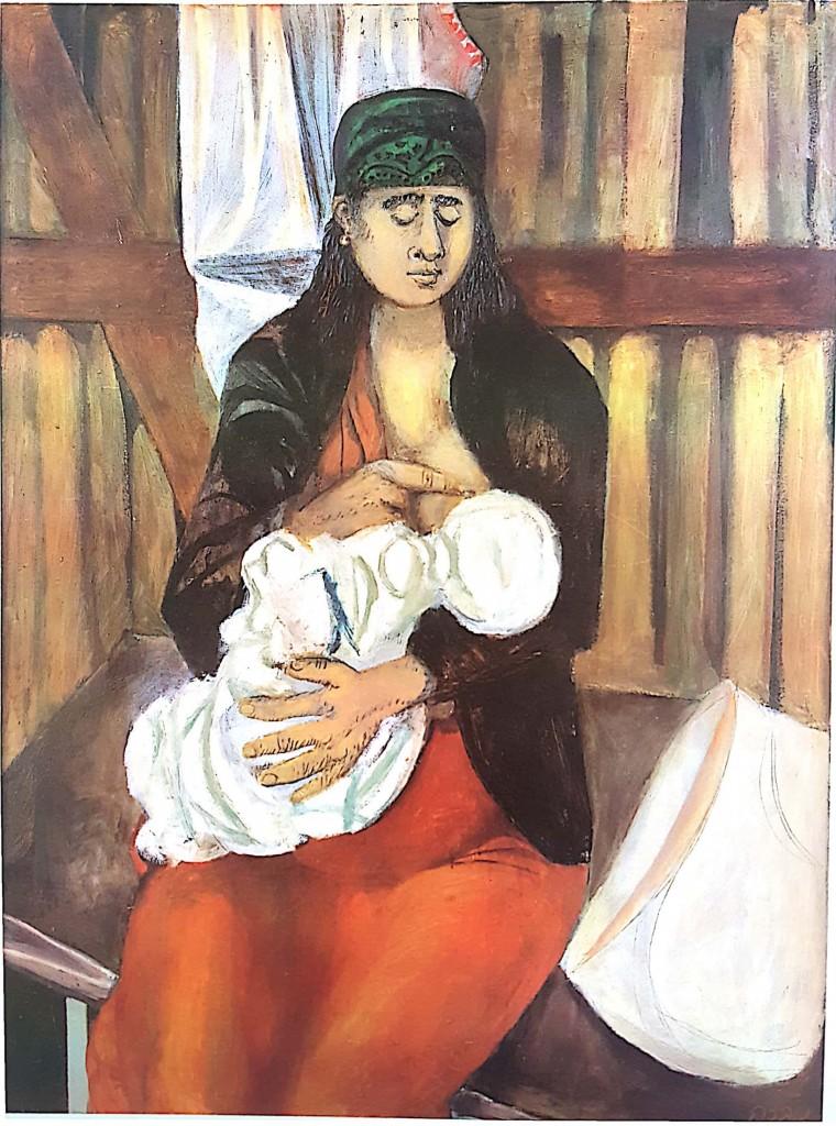 """נפתלי בזם, """"המדונה של המעברה"""", 1952 (שמן ועיפרון על מזוניט)"""