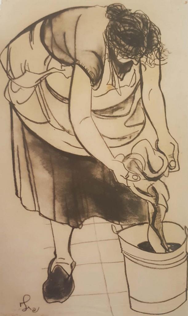 """נפתלי בזם, """"ספונג'ה"""", 1953 (פחם על נייר)"""