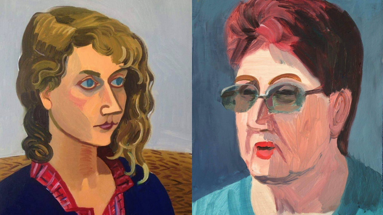 """עבודות של הציירת אנה לוקשבסקי. מימין פורטרט של אישה, פרויקט """"חיפה הסובייטית"""". משמאל, פורטרט של הציירת לריסה מילר."""
