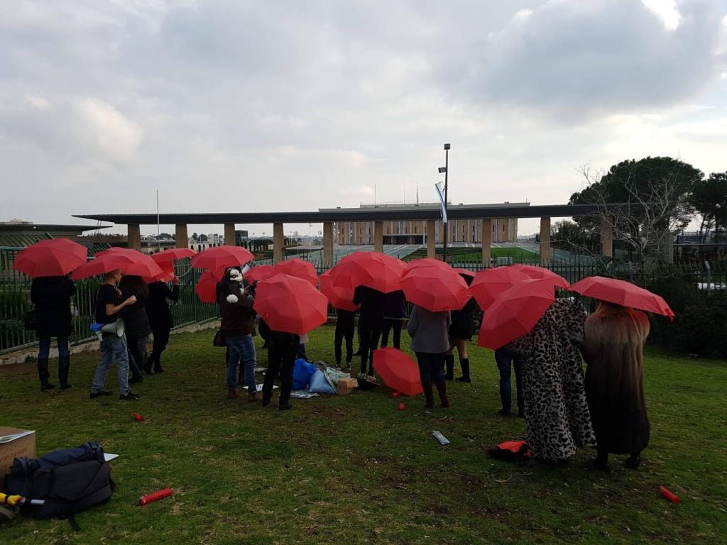 """חברות בהתארגנות """"ארגמן"""" בהפגנה מול הכנסת, 31.12.18"""